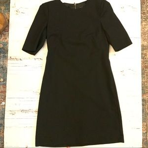 Theory wool blend 1/4 sleeve black sheath dress 8